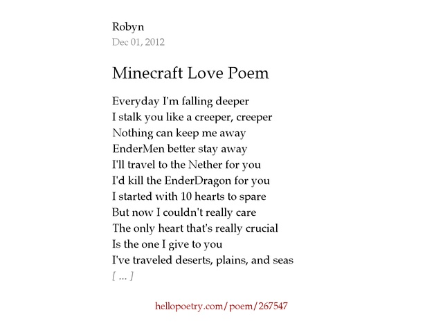 Minecraft Love Poem by Robyn - Hello Poetry