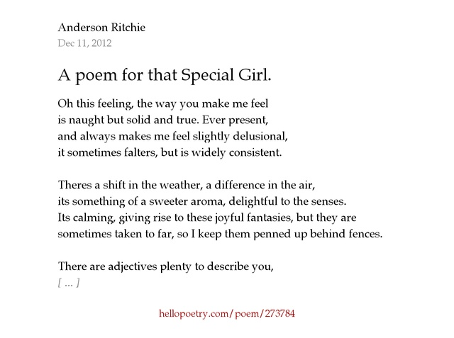 A poem for that Special Girl. by Anderson Ritchie - Hello Poetry
