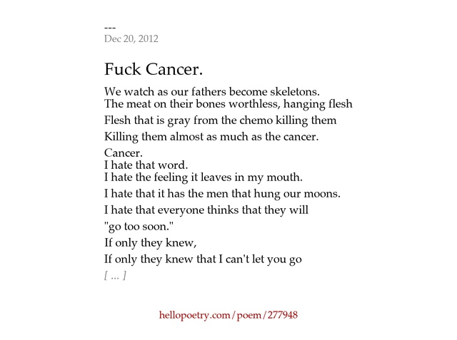 I Hate You Poems: Related Keywords & Suggestions For I Hate Cancer Poem