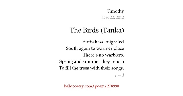 The birds tanka by timothy hello poetry for Tanka poem template