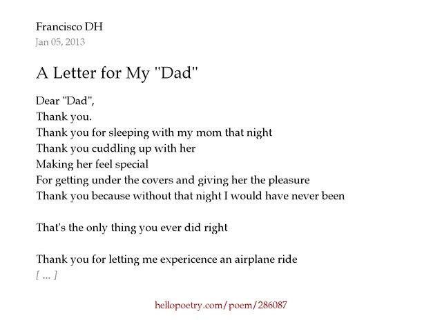"A Letter For My ""Dad"" By Francisco Dh - Hello Poetry"