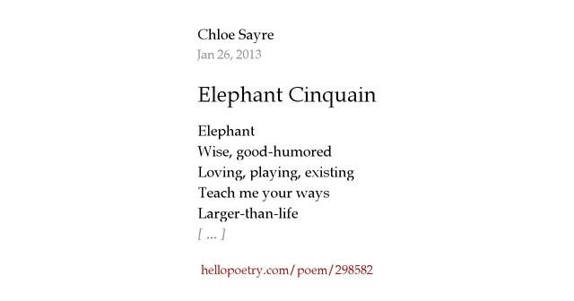 Elephant Cinquain by Chloe Sayre - Hello Poetry