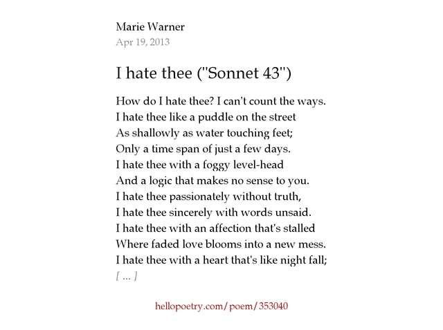 compare mother to son and sonnet 43 Summary one of the best known of shakespeare's sonnets, sonnet 18 is memorable for the skillful and varied presentation of subject matter, in which the poet's f.