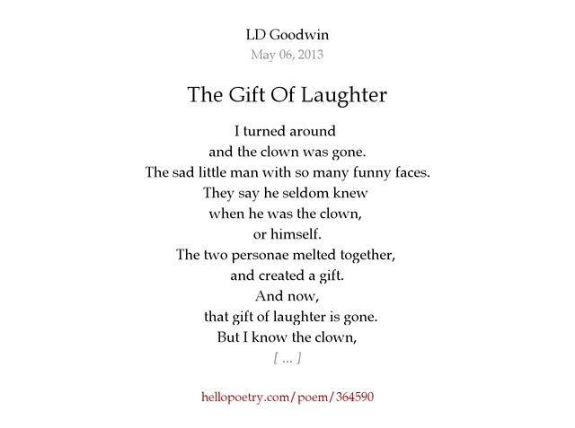 The Gift Of Laughter by LD Goodwin - Hello Poetry