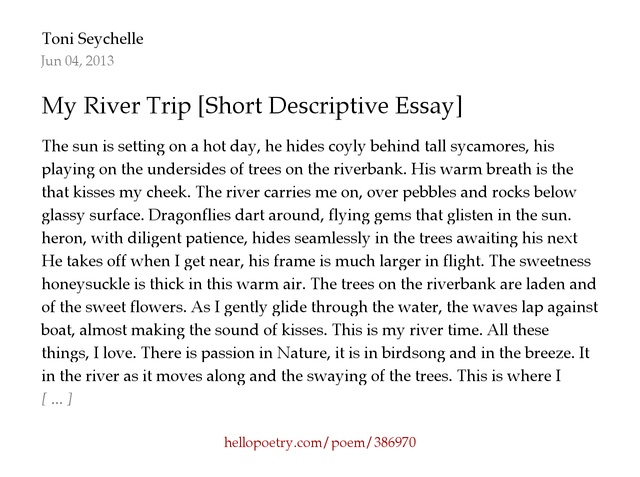 The Descriptive Essay My River Trip Short Descriptive Essay By Toni