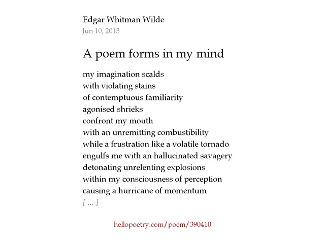 A poem forms in my mind by Edgar Whitman Wilde - Hello Poetry