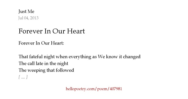 Forever In Our Heart by Just Me - Hello Poetry