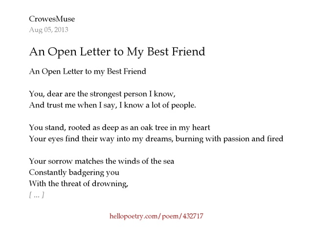 An Open Letter to My Best Friend by CrowesMuse Hello Poetry