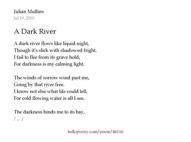 A Dark River by Julian Mullins - Hello Poetry
