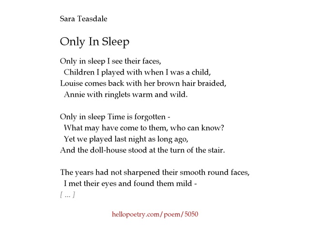 comparing childrens faces in sara teasdales poem barter Barter by sara teasdale life has loveliness to what is the figure of speech in this poem , and children's faces looking up holding wonder like.