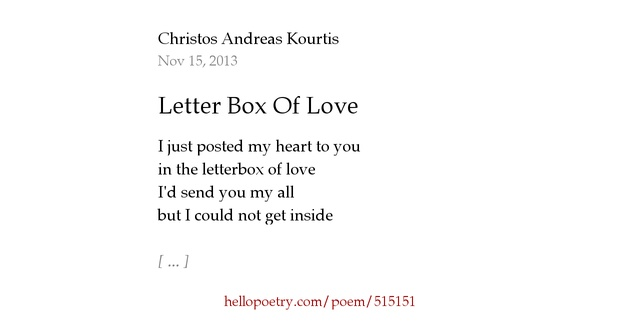 Box Of Love Poem : Letter box of love by christos andreas kourtis hello poetry