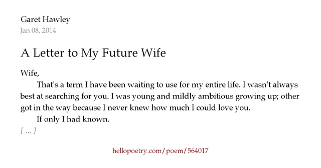 a letter to my future wife a letter to my future by muggle hello poetry 24596