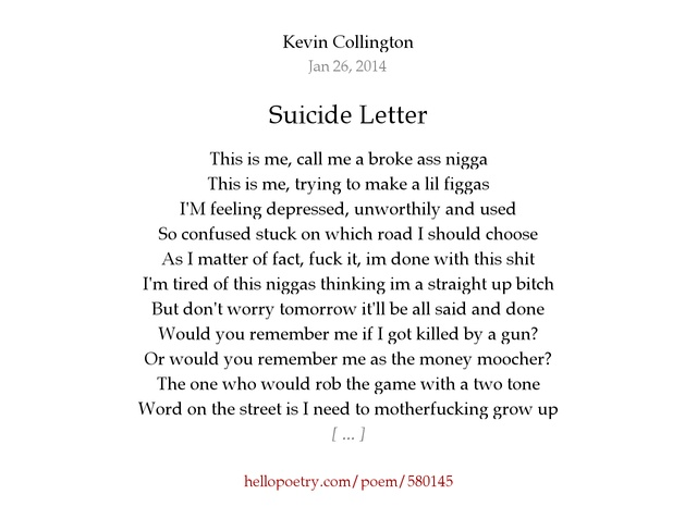 suicide letter by kevin collington - hello poetry