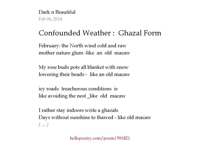 Confounded Weather : Ghazal Form by Dark n Beautiful - Hello Poetry