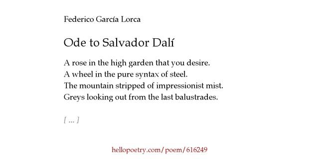 Ode To Salvador Dal 237 By Federico Garc 237 A Lorca Hello Poetry