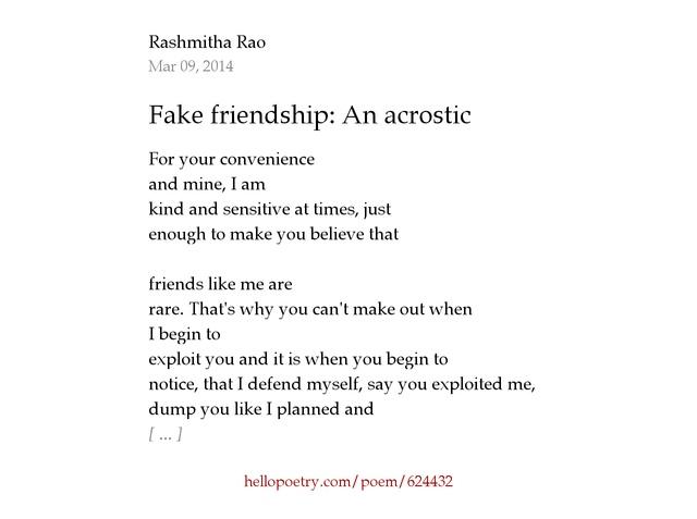 Fake Friendship Poems