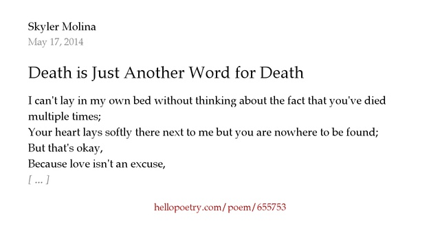 Death is just another word for death by skyler molina for Another word for hi