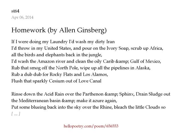 Homework allen ginsberg analysis