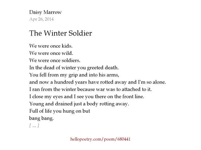 The Winter Soldier by Daisy Marrow - Hello Poetry