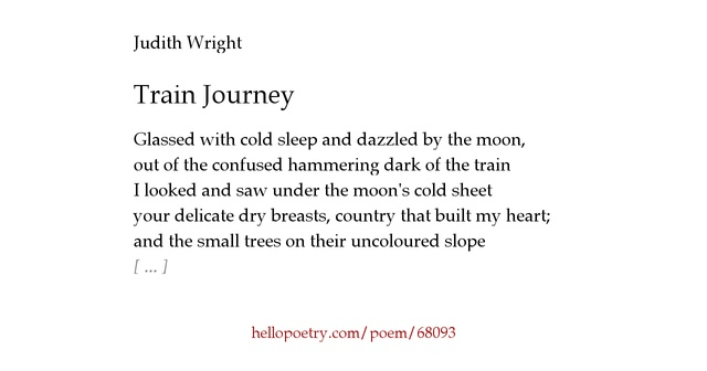 wright poetry and train journey Poems on the theme of trains memoirs and poems about train journeys, the flying scotsman, mallard updated on september 12, 2018 ann carr more ann loves to write poetry and stories current poetry about certain themes, eg trains & english counties, poetry month, travel & beyond.