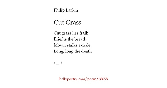 the poem at grass by philip Multiple types of departure will probably be described in this poem,  poetry of departures philip larkin  1335750/philip-larkins-secretary-helped.