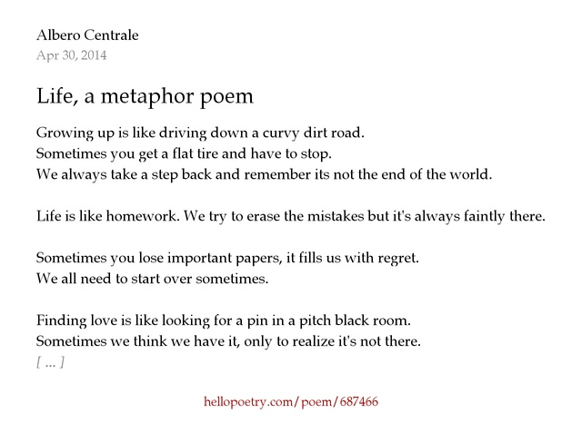the importance of metaphor in poetry Potw: robert frost and the importance of metaphor david kern sep 5, 2013 not only did metaphor allow his poetry to talk, as he wished it to.