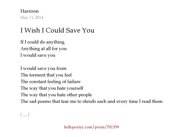 I Wish I Could Save You by The Oblivion - Hello Poetry