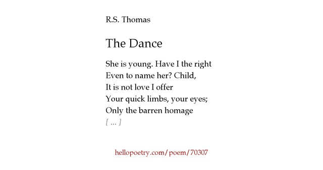 The Dance by R.S. Thomas - Hello Poetry
