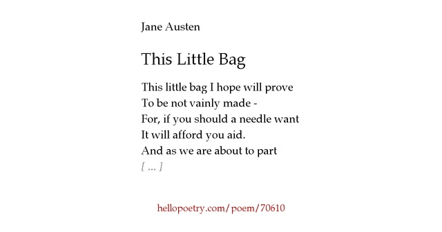 This Little Bag by Jane Austen - Hello Poetry