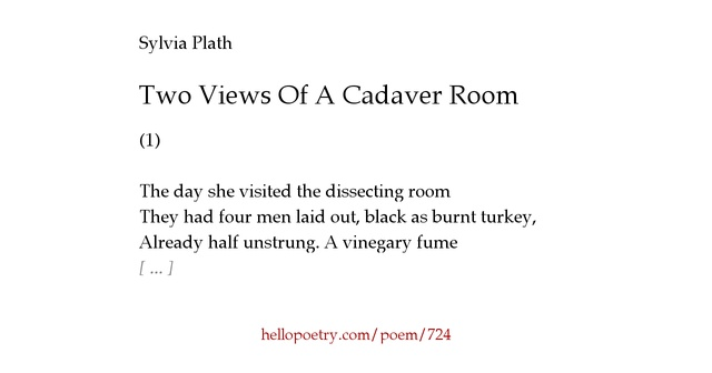 two views of a cadaver room These two views brings him to a dilemma enough of science and of art/close up  in another poem entitled two views of a cadaver room, sylvia plath.