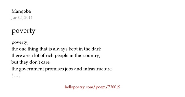 poverty poem These best poverty poems are the top poverty poems on poetrysoup these are examples of the best poverty poems written by poetrysoup members.