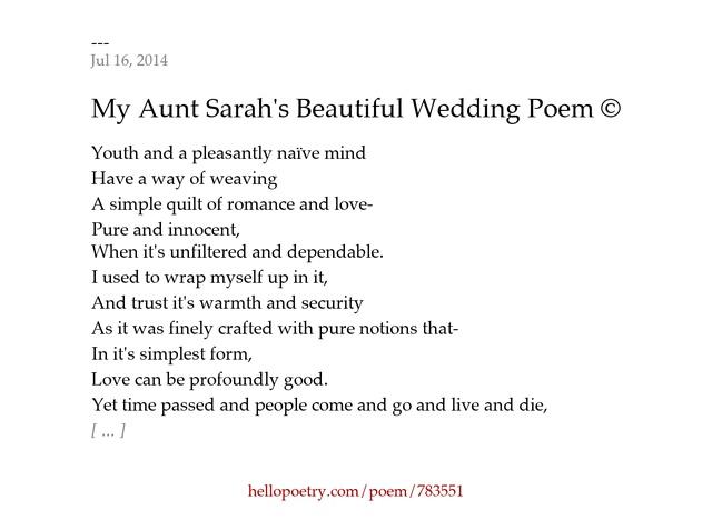 My Aunt Sarahs Beautiful Wedding Poem C By Madison