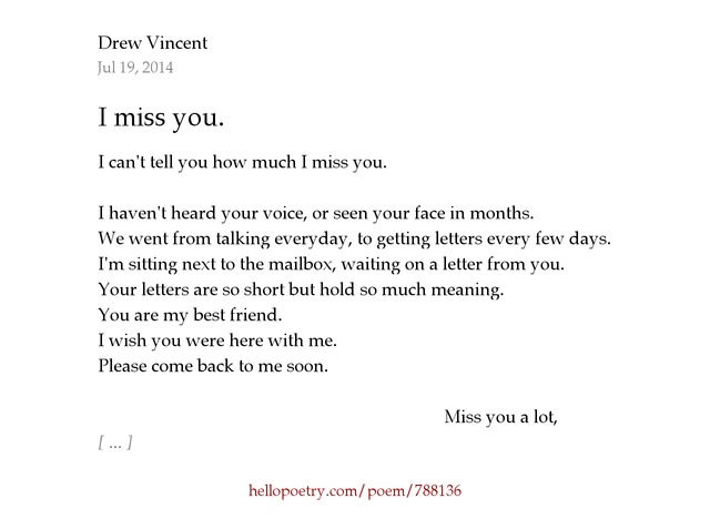 I miss you by Drew Vincent Hello Poetry
