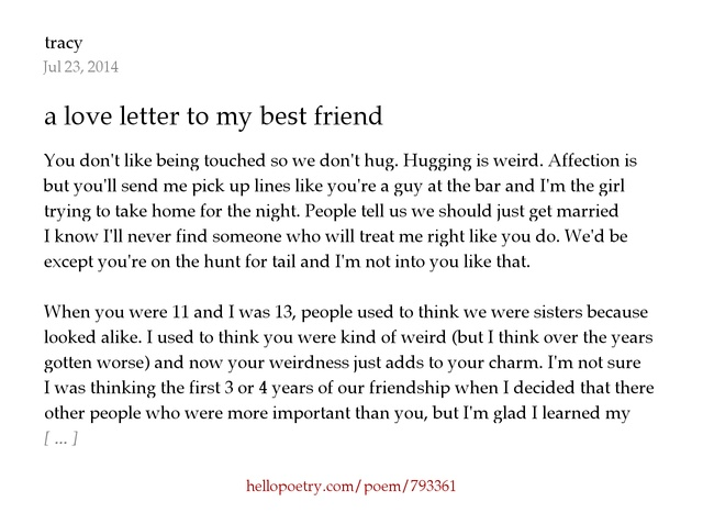 a love letter to my best friend by tracy Hello Poetry