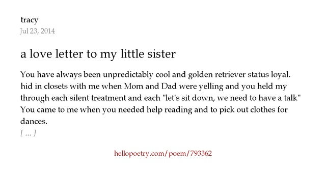 a letter to my little sister a letter to my by tracy hello poetry 20341