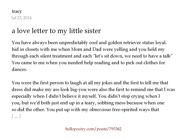a love letter to my little sister by tracy Hello Poetry