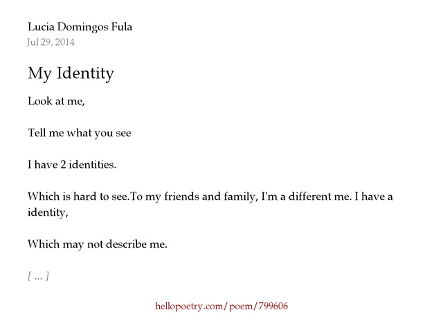 My Identity by Lucia Domingos Fula - Hello Poetry