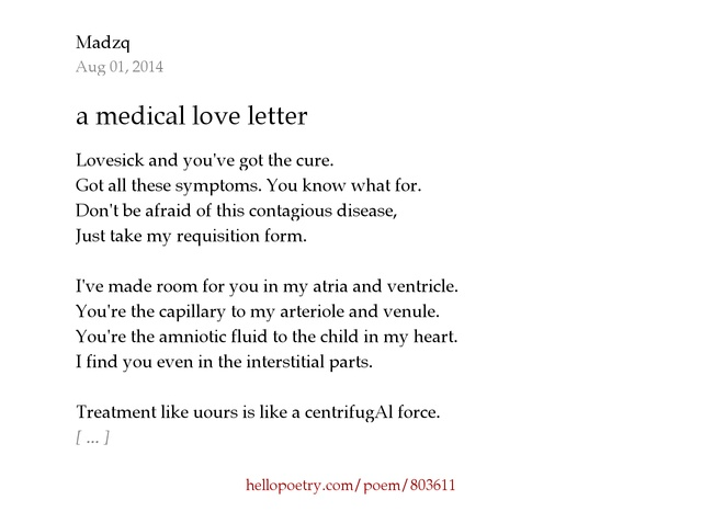 a medical love letter by madzq - hello poetry