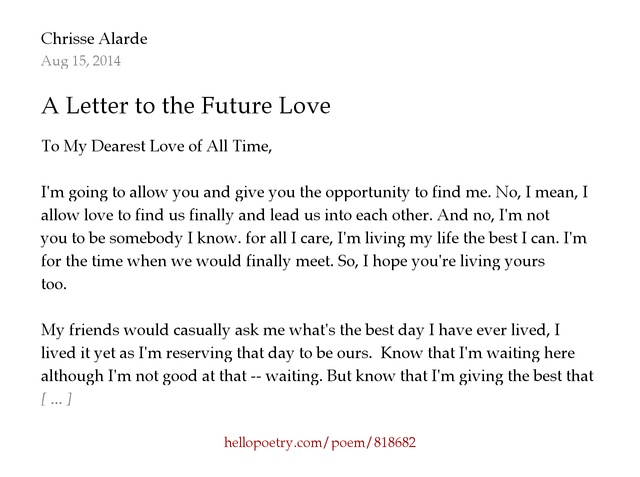 A Letter to the Future Love by Krezeyyyy Hello Poetry