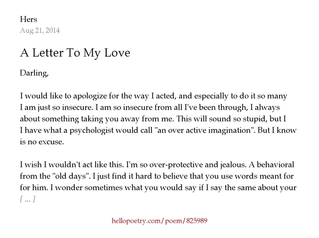 A Letter To My Love by Hers Hello Poetry