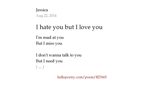 I Hate You Poems: I Hate You But I Love You By Jessica