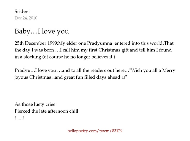 Baby....I love you by Sridevi - Hello Poetry