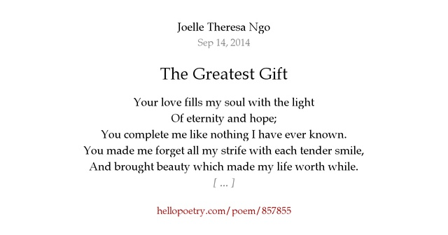 The Greatest Gift By Joelle Theresa Ngo Hello Poetry