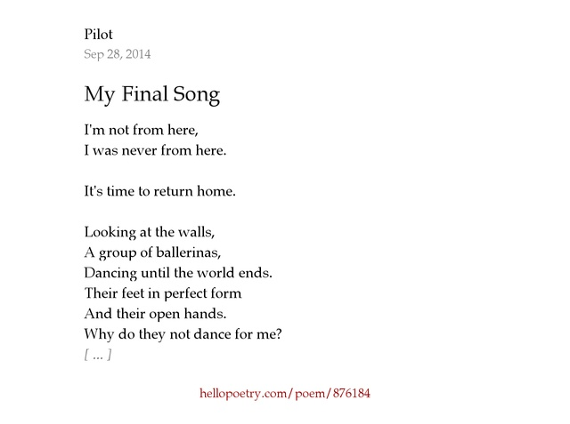 My Final Song by Pilot - Hello Poetry