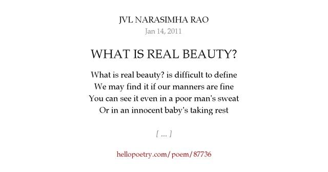 WHAT IS REAL BEAUTY? by JVL NARASIMHA RAO