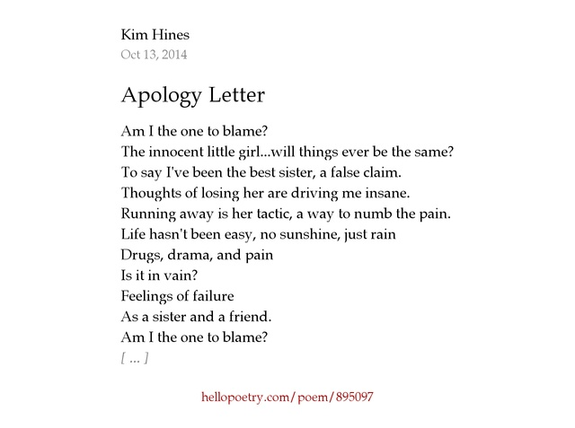 Apology Letter by Kim Hines Hello Poetry