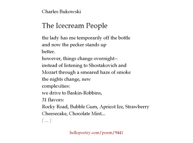 The Icecream People by Charles Bukowski - Hello Poetry