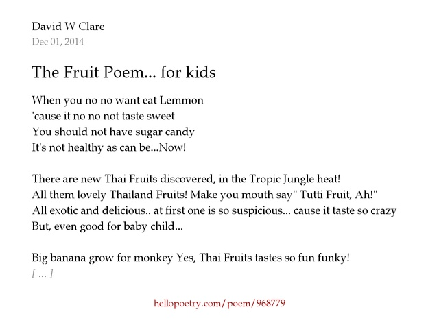 The Fruit Poem... for kids by David W Clare - Hello Poetry