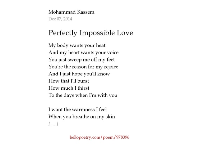 Perfectly Impossible Love By Jace Kassem Hello Poetry - Impossible poem