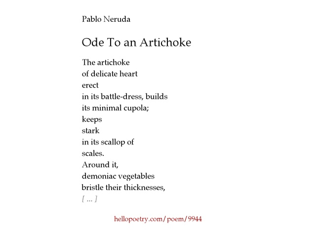 Ode To an Artichoke by Pablo Neruda - Hello Poetry